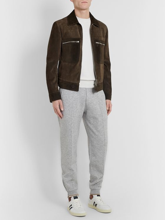 Ermenegildo Zegna Suede-Trimmed Waffle-Knit Cashmere and Cotton-Blend Sweatshirt