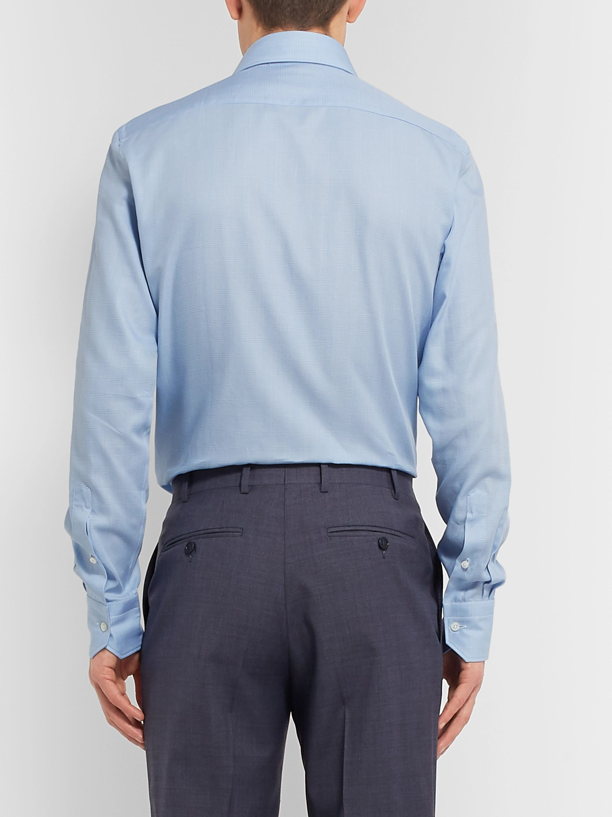 ERMENEGILDO ZEGNA Light-Blue Cutaway-Collar Checked Cotton Shirt