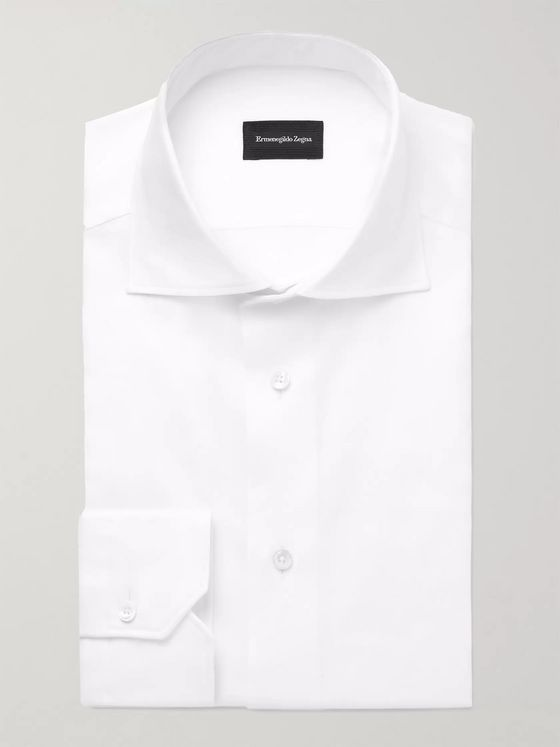 Ermenegildo Zegna White Cutaway-Collar Cotton Oxford Shirt