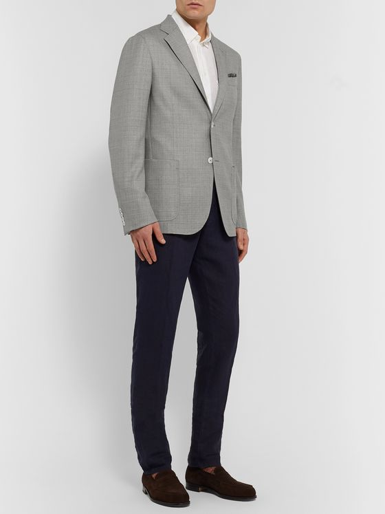 Ermenegildo Zegna Grey Unstructured Mélange Wool-Blend Blazer