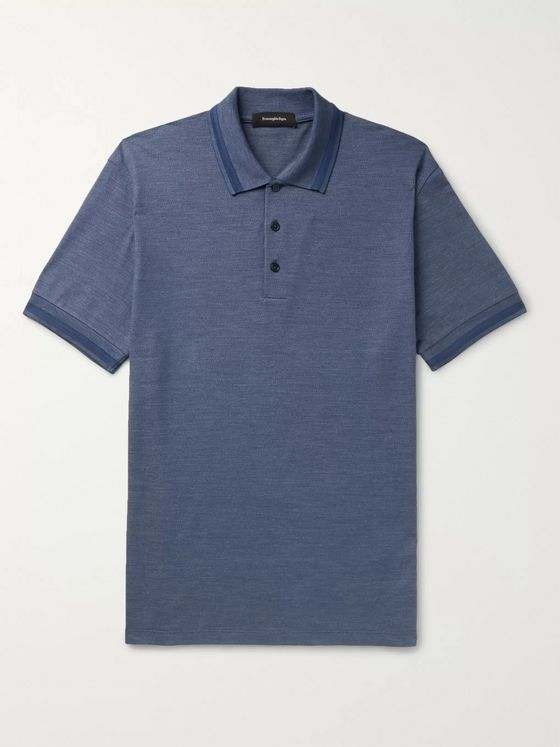 Ermenegildo Zegna Contrast-Tipped Cotton and Silk-Blend Polo Shirt