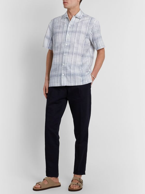 Ermenegildo Zegna Camp-Collar Checked Silk, Linen and Cotton-Blend Shirt