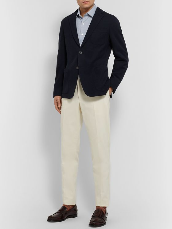 Ermenegildo Zegna Navy Slim-Fit Wool and Cotton-Blend Jersey Blazer