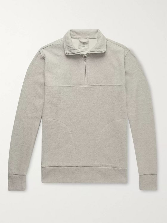 Oliver Spencer Loungewear Milner Mélange Ribbed Cotton Half-Zip Sweatshirt