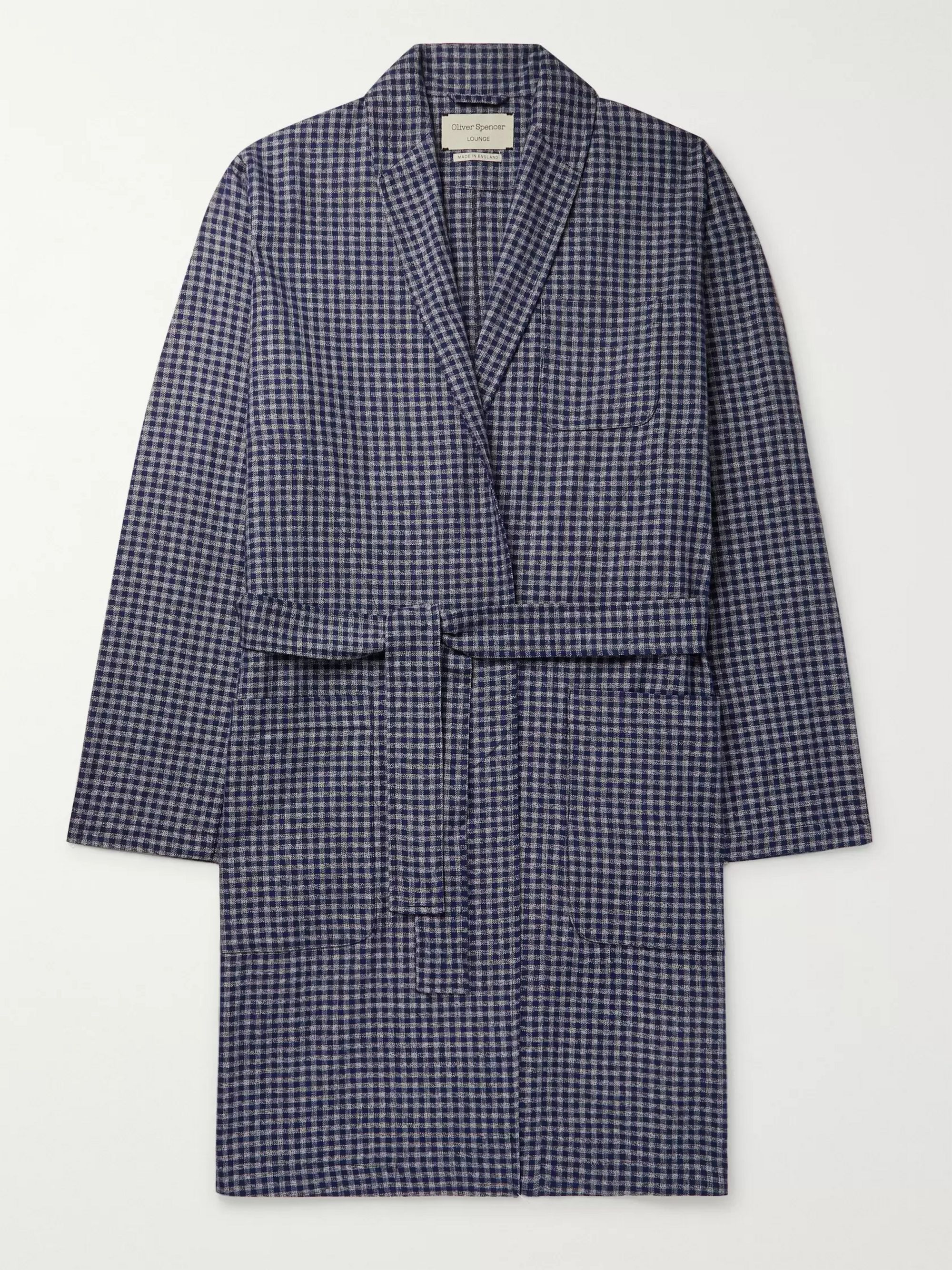 Cannington Gingham Cotton Robe by Oliver Spencer Loungewear