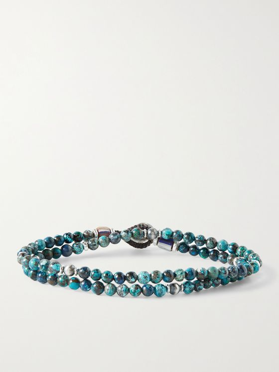 MIKIA Multi-Stone and Sterling Silver Beaded Wrap Bracelet