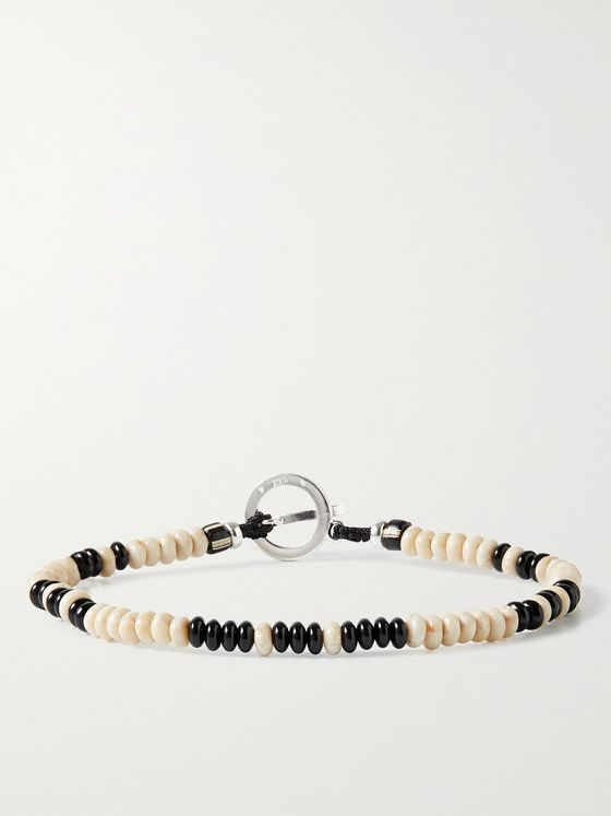 MIKIA Onyx, Stone and Sterling Silver Beaded Bracelet