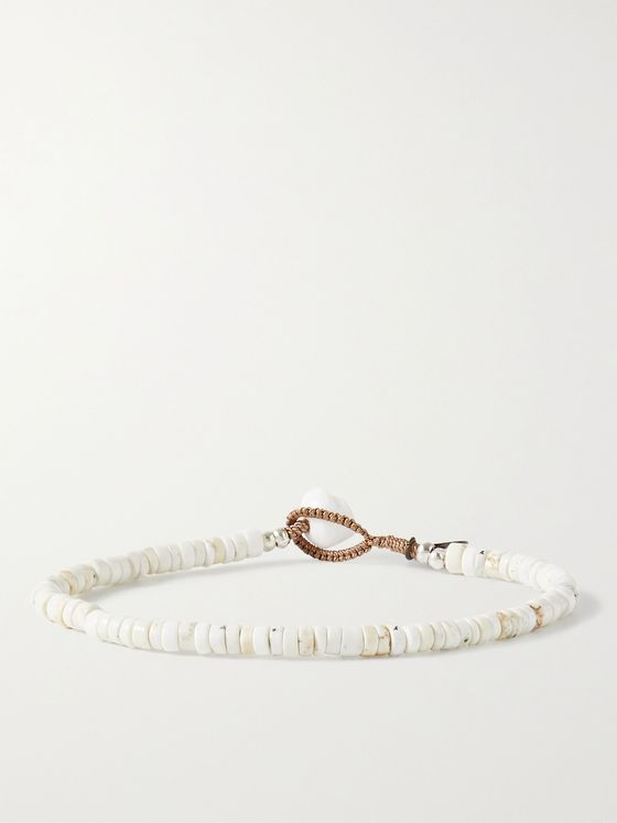 MIKIA Magnesite and Silver-Tone Beaded Bracelet
