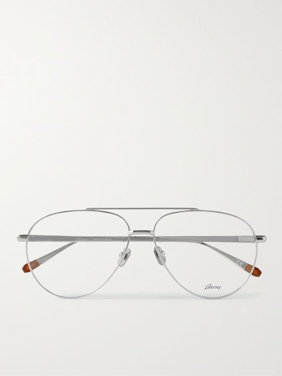 BRIONI Aviator-Style Silver-Tone Optical Glasses