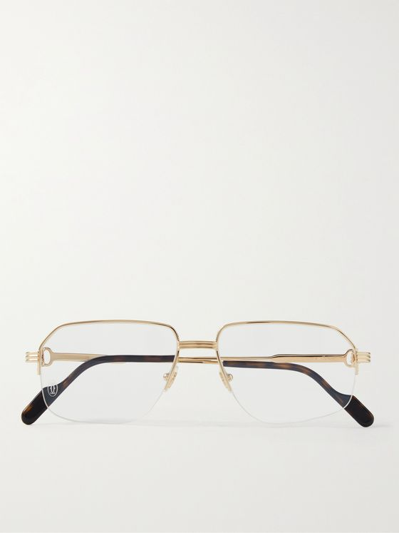 CARTIER EYEWEAR Rectangular-Frame Gold-Tone Optical Glasses