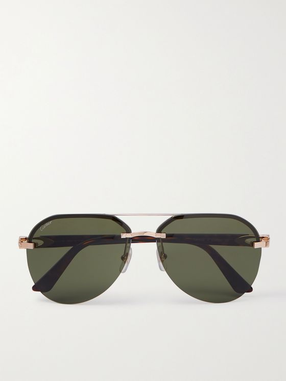 CARTIER EYEWEAR Aviator-Style Gold-Tone and Tortoiseshell Acetate Sunglasses