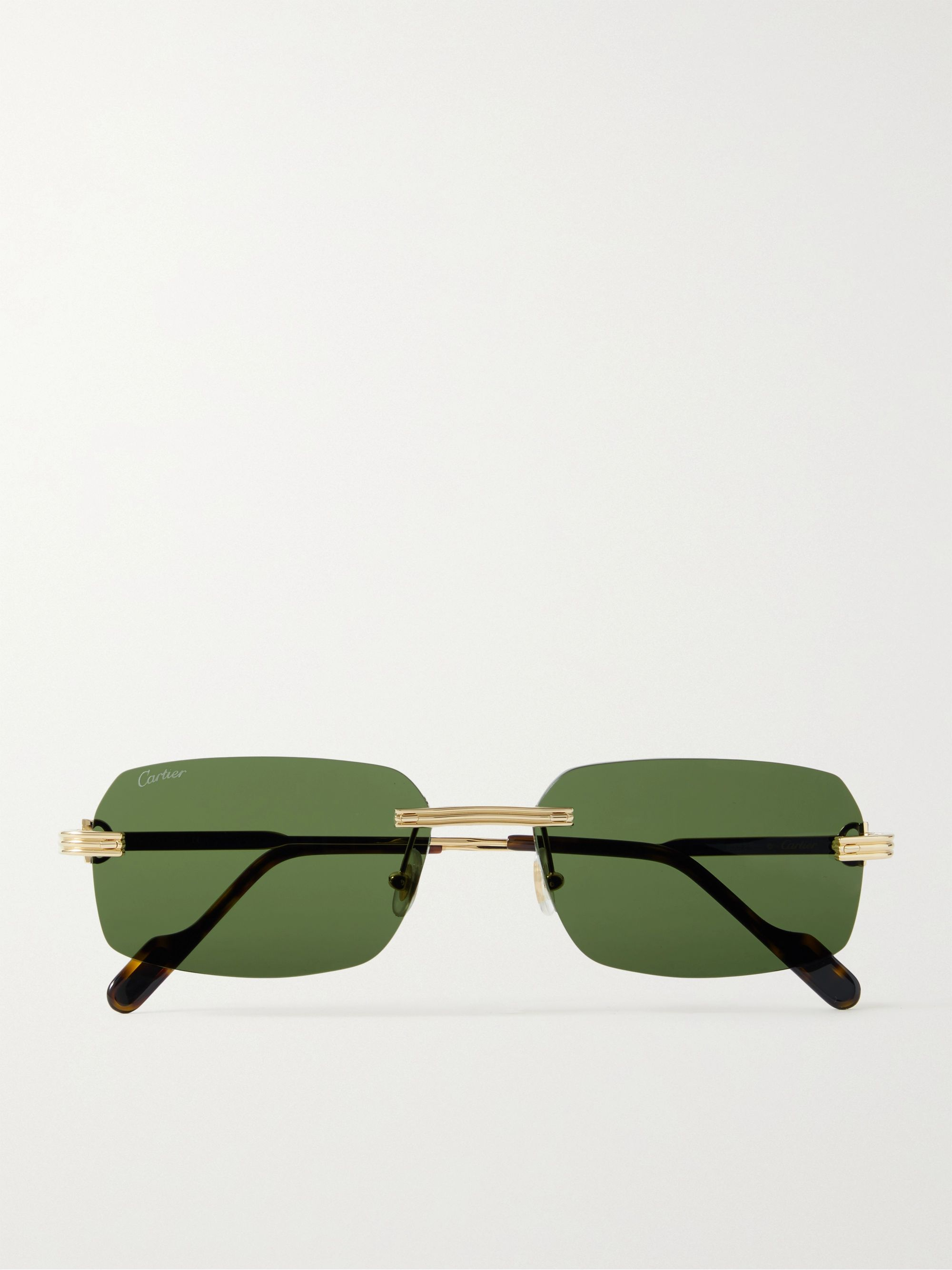 CARTIER EYEWEAR Rimless Rectangular-Frame Gold-Tone Sunglasses