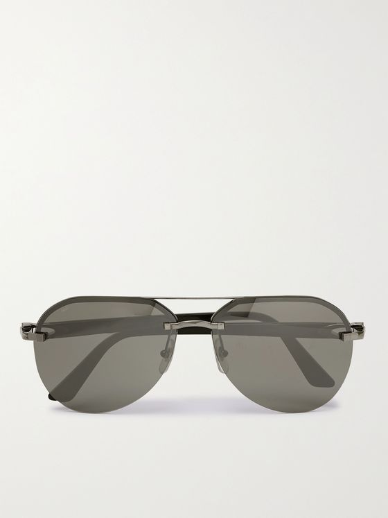 CARTIER EYEWEAR Aviator-Style Gunmetal-Tone and Acetate Sunglasses