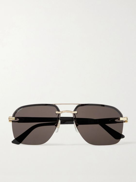 CARTIER EYEWEAR Décor C Aviator-Style Gold-Tone and Acetate Sunglasses