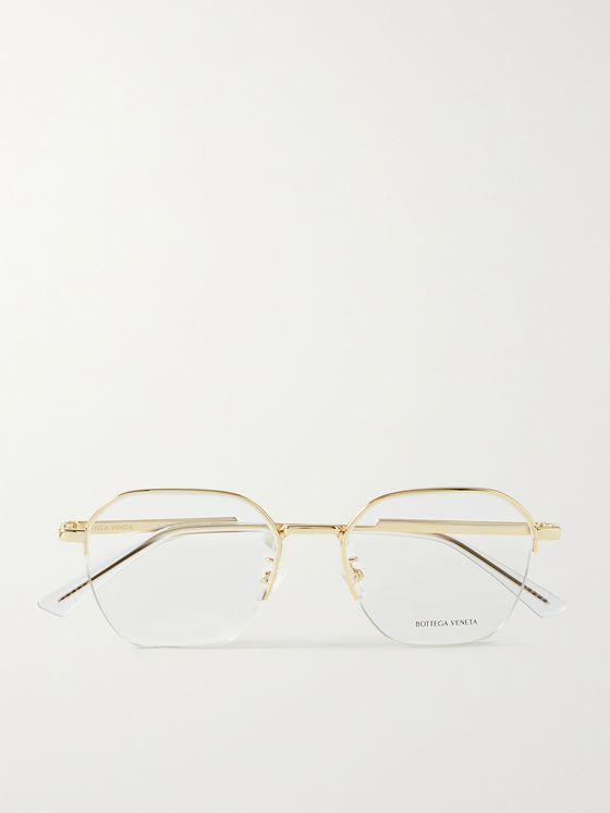 BOTTEGA VENETA Round-Frame Gold-Tone Optical Glasses