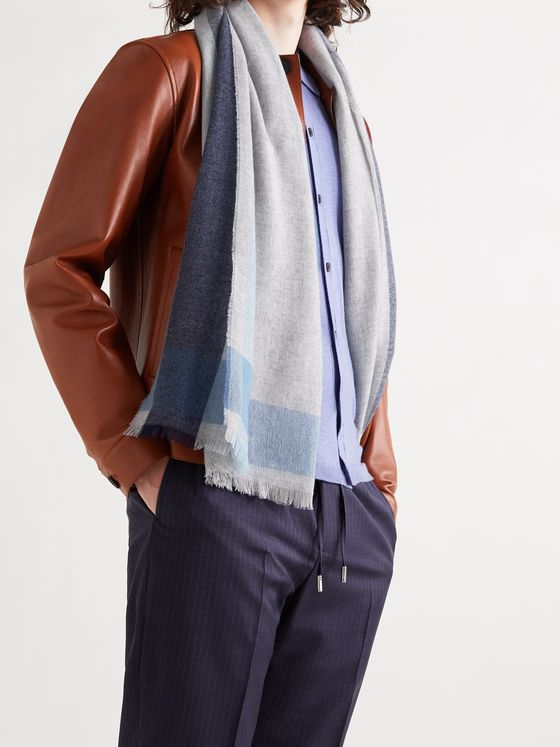 MR P. Fringed Colour-Block Cashmere Scarf
