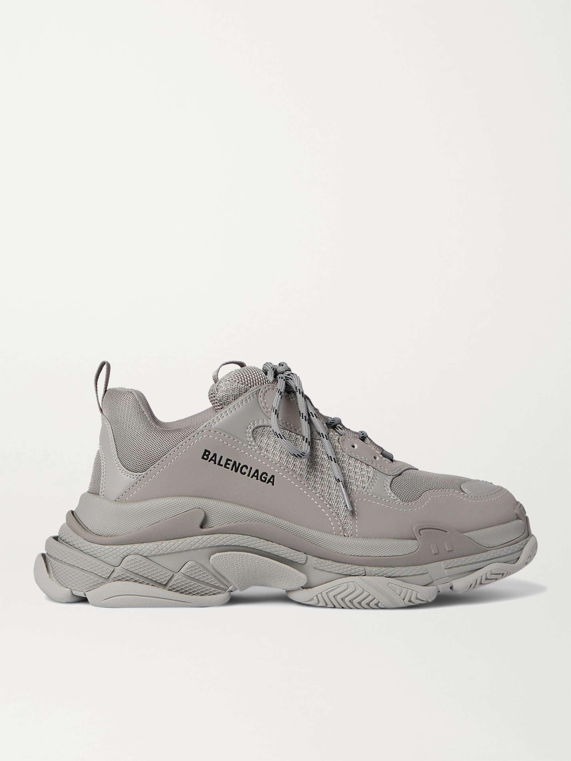 발렌시아가 트리플S 남성용 Balenciaga Triple S Mesh and Faux Leather Sneakers,Gray