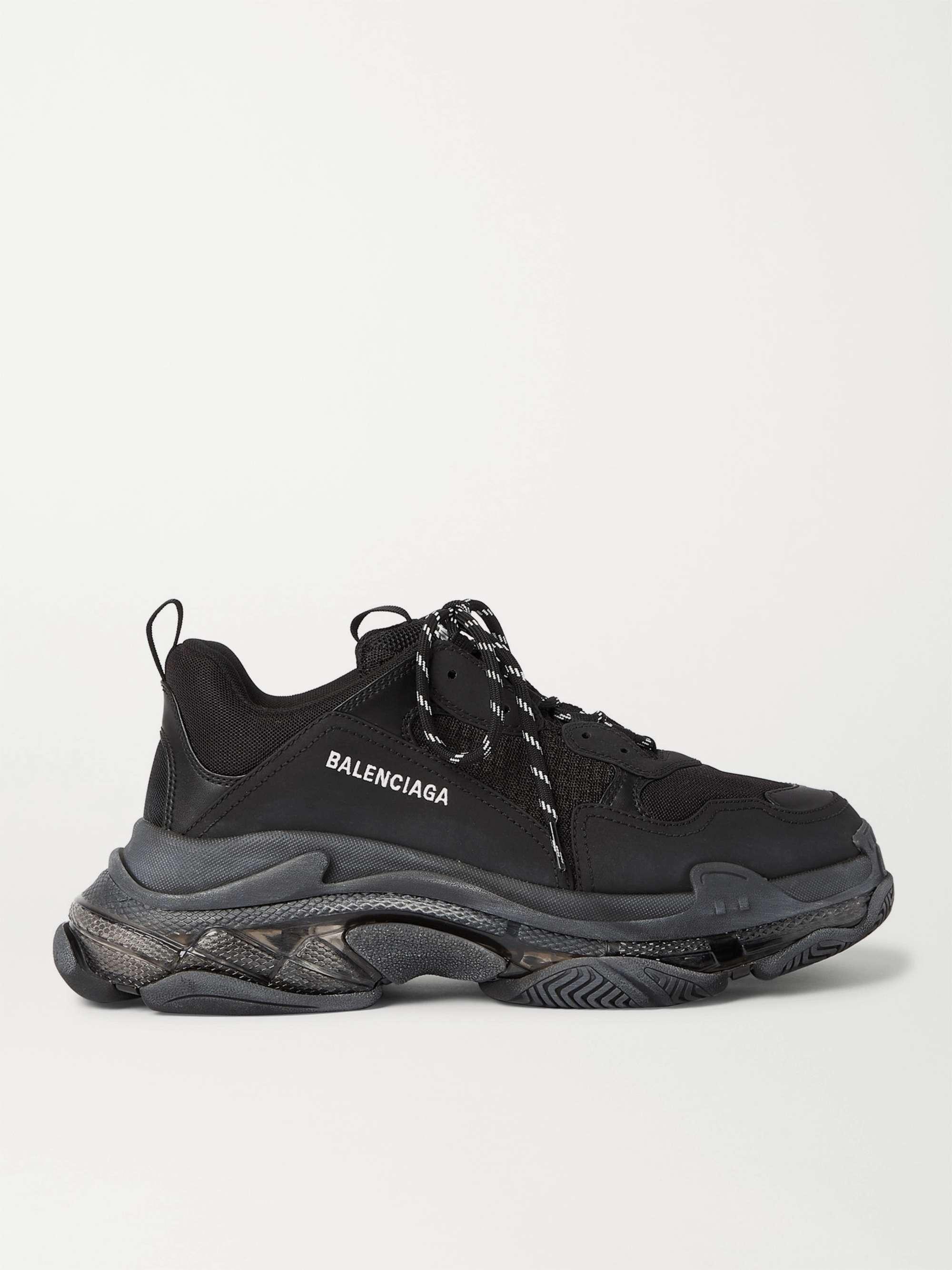발렌시아가 트리플S 남성용 Balenciaga Triple S Clear Sole Mesh Nubuck and Leather Sneakers,Black