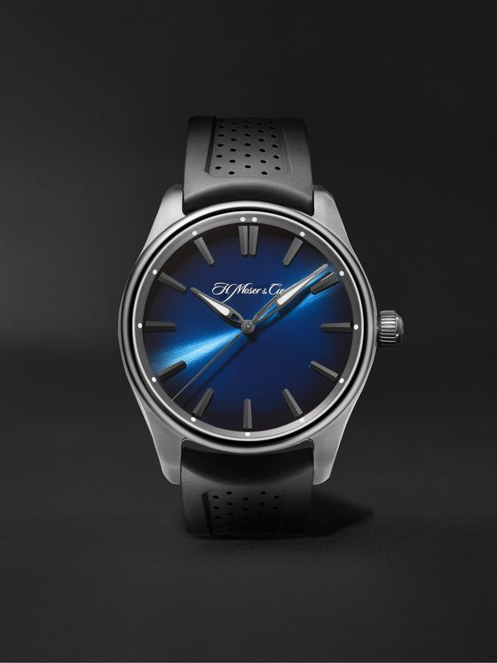 H. MOSER & CIE. Pioneer Centre Seconds Automatic 42.8mm DLC-Coated Stainless Steel and Rubber Watch, Ref. No. 3200-1205