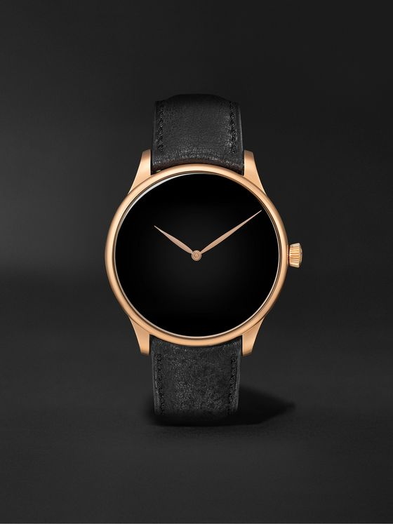 H. MOSER & CIE. Venturer Hand-Wound 39mm 18-Karat Red Gold and Leather Watch, Ref. No. 2327-0410