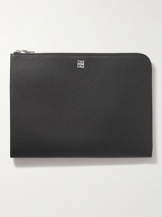 GIVENCHY Logo-Appliquéd Full-Grain Leather Pouch