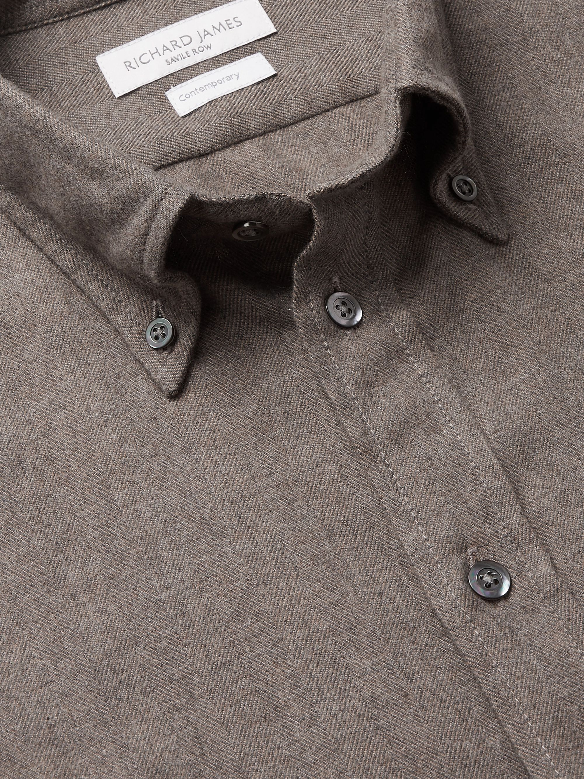 RICHARD JAMES Button-Down Collar Herringbone Brushed Cotton-Flannel Shirt