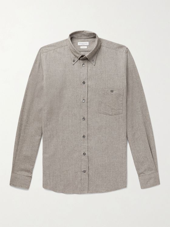RICHARD JAMES Slim-Fit Button-Down Collar Brushed Cotton-Flannel Shirt