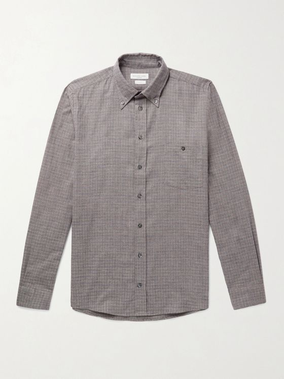 RICHARD JAMES Slim-Fit Button-Down Collar Checked Brushed Cotton-Flannel Shirt