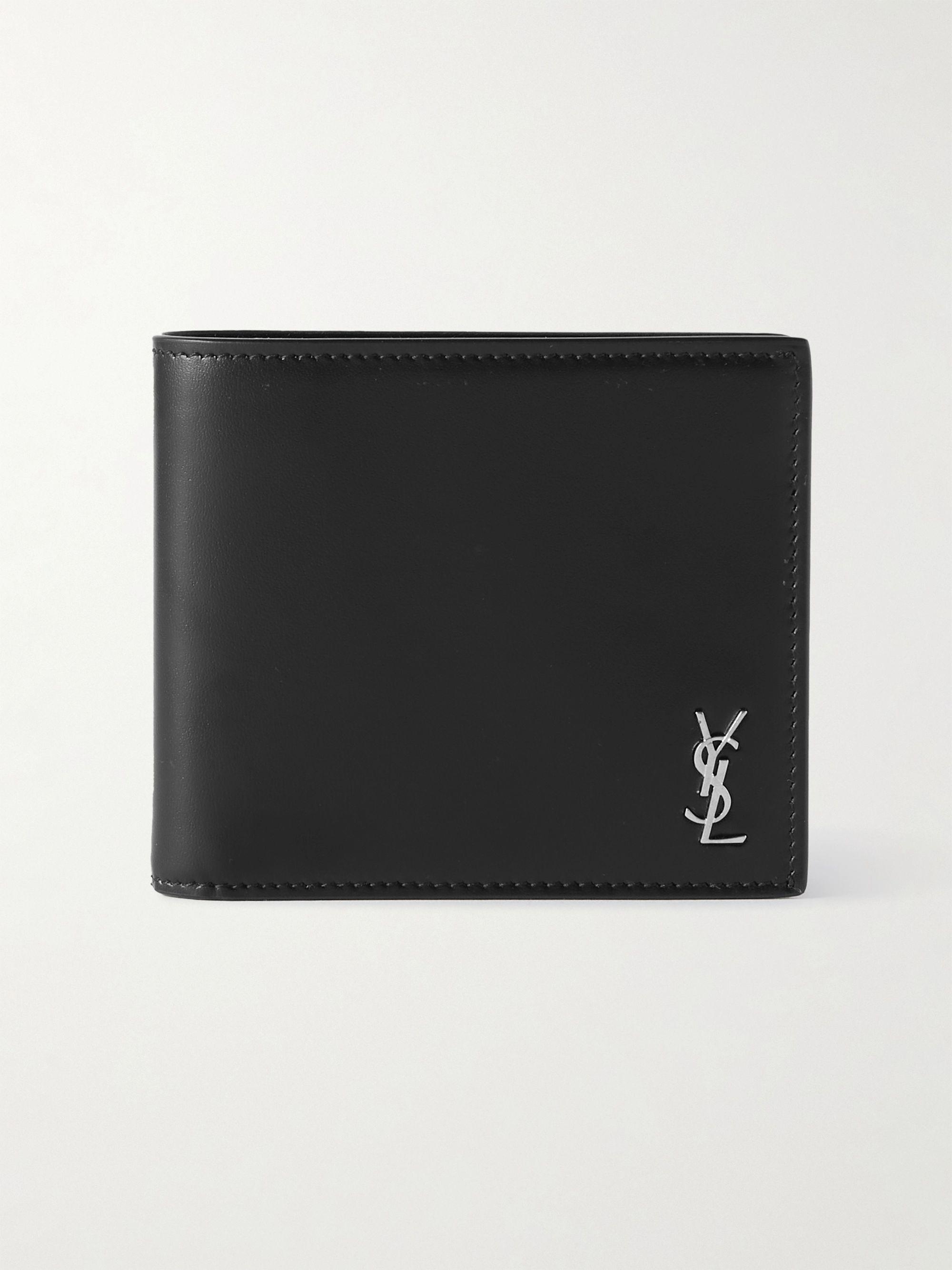 생 로랑 반지갑 Saint Laurent Logo-Appliqued Leather Billfold Wallet,Black