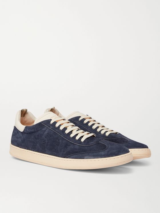OFFICINE CREATIVE Kombo Leather-Trimmed Suede Sneakers