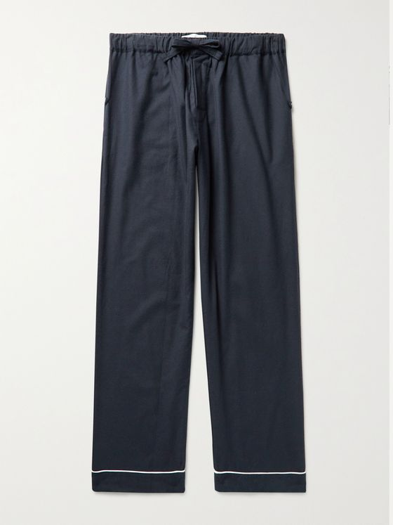 DESMOND & DEMPSEY Piped Brushed Cotton-Flannel Pyjama Trousers