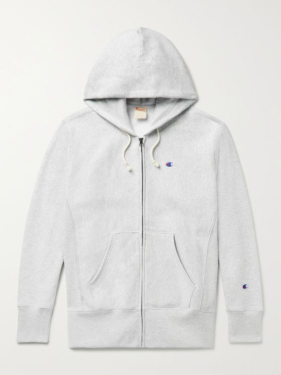 CHAMPION Mélange Fleece-Back Cotton-Jersey Zip-Up Hoodie