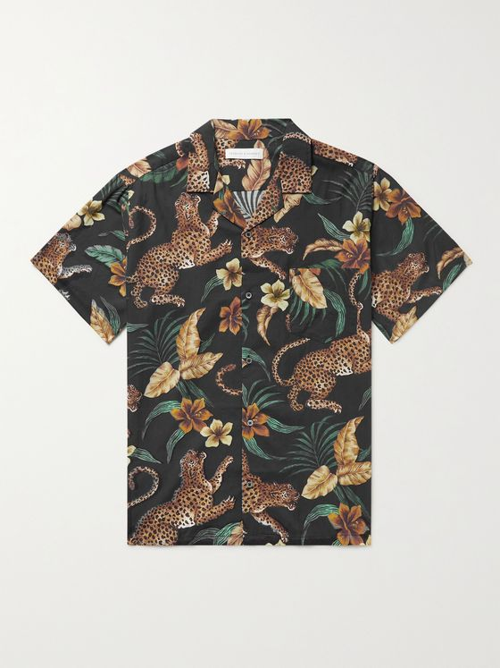 DESMOND & DEMPSEY Cuban Camp-Collar Printed Cotton Pyjama Shirt