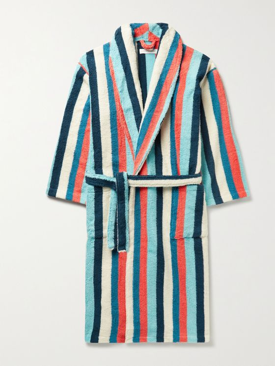 DESMOND & DEMPSEY Medina Striped Cotton-Terry Robe