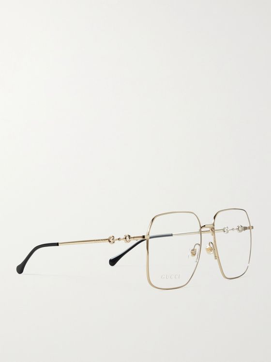 GUCCI Square-Frame Gold-Tone Optical Glasses