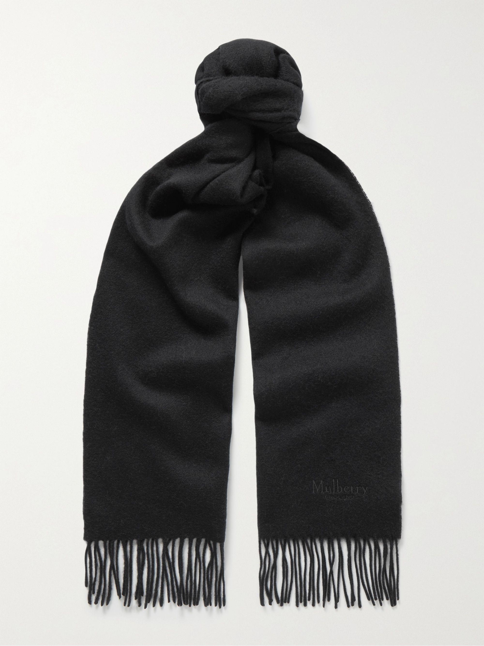 멀베리 스카프 Mulberry Logo-Embroidered Fringed Lambswool Scarf,Black