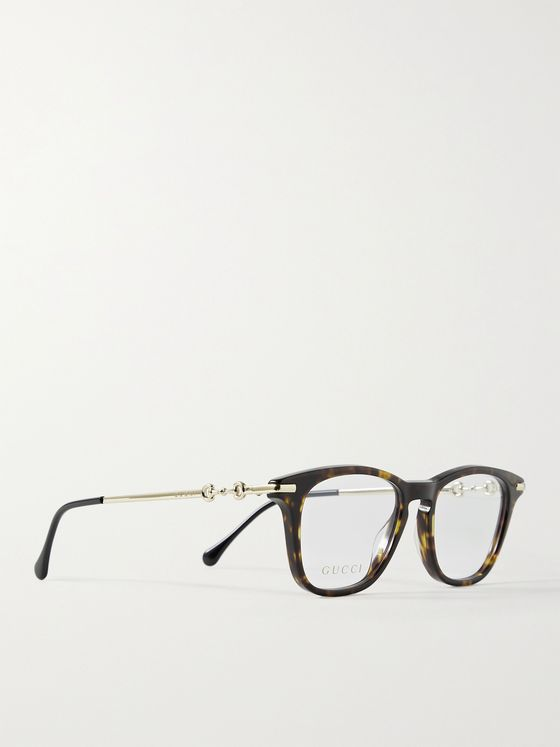 GUCCI Square-Frame Tortoiseshell Acetate and Gold-Tone Optical Glasses