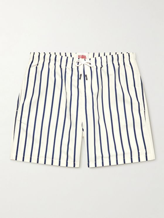 SOLID & STRIPED The California Long-Length Striped Swim Shorts