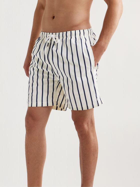 SOLID & STRIPED The Classic Long-Length Striped Swim Shorts