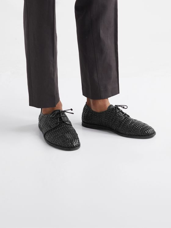 OFFICINE CREATIVE Moreira Woven Leather Derby Shoes