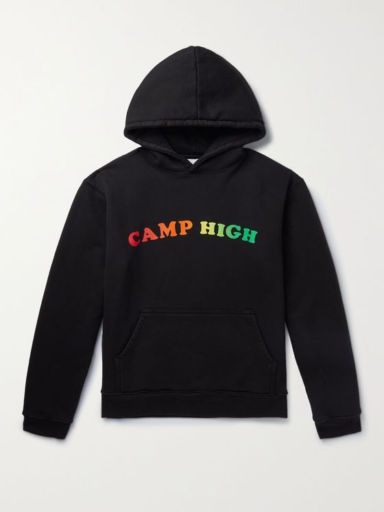 CAMP HIGH Counselor Logo-Print Loopback Cotton-Jersey Hoodie