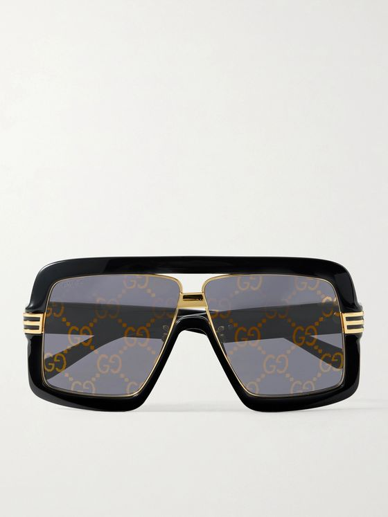 GUCCI Oversized Square-Frame Logo-Detailed Acetate and Gold-Tone Sunglasses