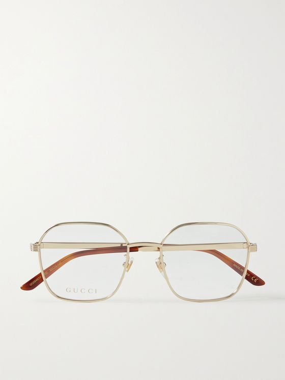 GUCCI Hexagon-Frame Gold-Tone Optical Glasses