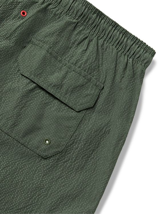 Solid & Striped The Classic Mid-Length Seersucker Swim Shorts