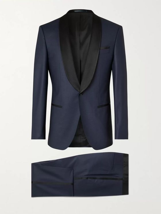 HUGO BOSS Slim-Fit Satin-Trimmed Herringbone Virgin Wool-Blend Tuxedo
