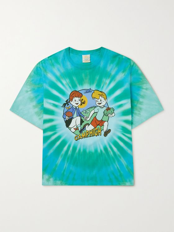 CAMP HIGH Forage Friends Printed Tie-Dyed Cotton-Jersey T-Shirt