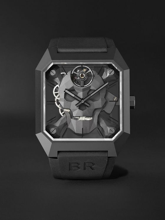 BELL & ROSS BR 01 Cyber Skull Limited Edition Hand-Wound 46.5mm Ceramic and Rubber Watch, Ref. No. BR01-CSK-CE/SRB