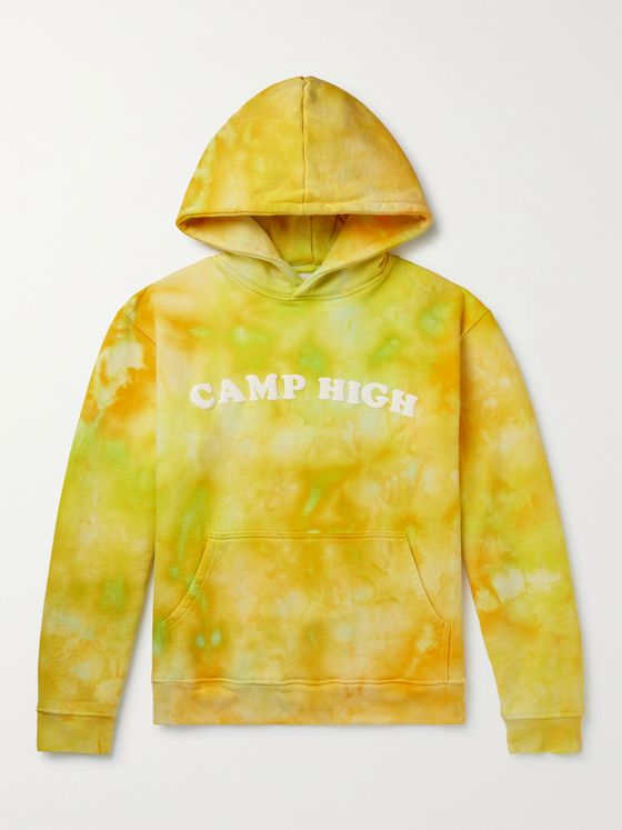 CAMP HIGH Counselor Logo-Print Tie-Dyed Loopback Cotton-Jersey Hoodie