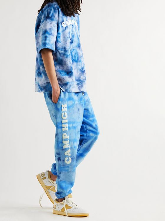 CAMP HIGH Santa Monica Slim-Fit Tapered Tie-Dyed Cotton-Jersey Sweatpants