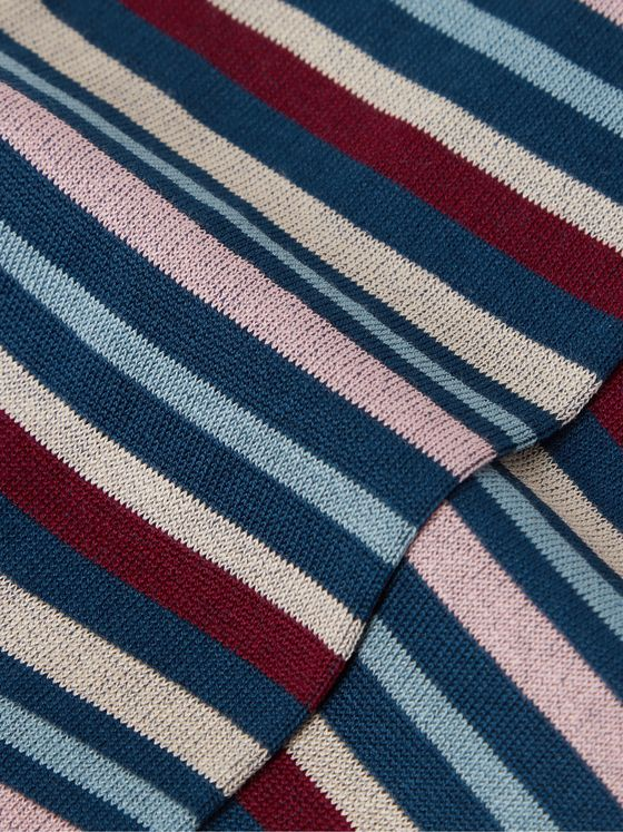 MARCOLIANI Striped Pima Cotton-Blend Lisle Socks